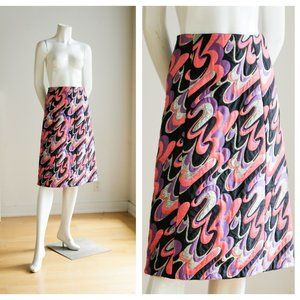 Vintage 60s 70s Geometric Print Psychedelic skirt